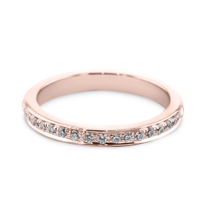0.18 Carat Diamond Wedding Band - 18K Rose Gold Channel Setting #SR504W_RDR2