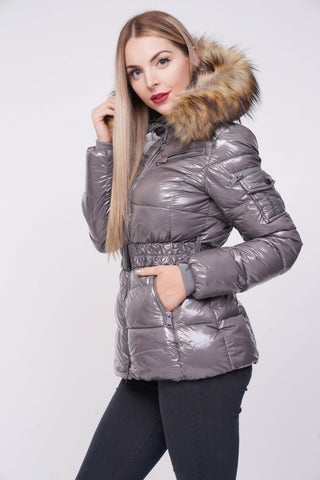 'Zara' Grey Shiny Wetlook Belted Faux Fur Hood Quilted Puffer Jacket, Prettyrebel.com