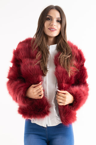 'Leyla' Red Super Soft Faux Fur Jacket, Prettyrebel.com