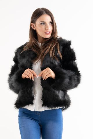 'Leyla' Black Super Soft Faux Fur Jacket, Prettyrebel.com