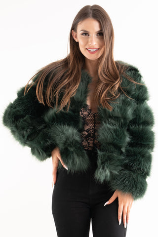 'Leyla' Teal Super Soft Faux Fur Jacket, Prettyrebel.com