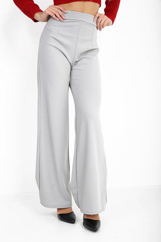 Luna Grey High Waisted Flare Trousers, Prettyrebel.com