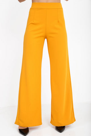 Luna Mustard Yellow High Waisted Flare Trousers, Prettyrebel.com