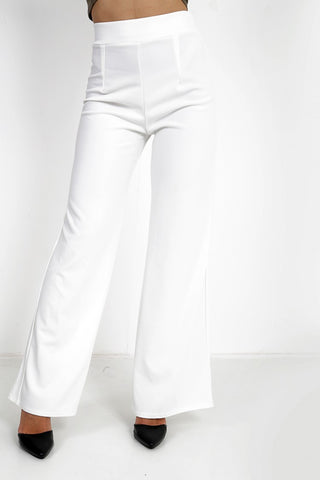 Luna White High Waisted Flare Trousers, Prettyrebel.com
