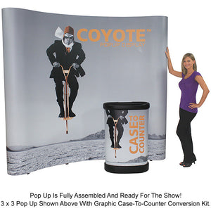 4 Ft. (1 x 3) Coyote Pop Up Display With Full Graphics - Curved - Product Assembly 7