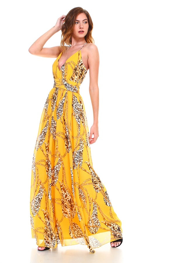 D2269 Yellow Chain Print