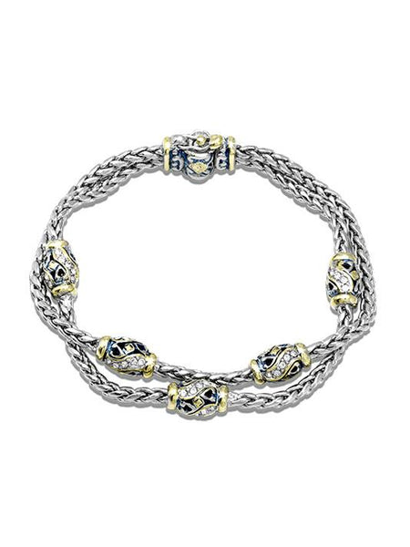 Beaded Indigo Finish Pavé Double Chain Bracelet by John Medeiros Jewelry Collections