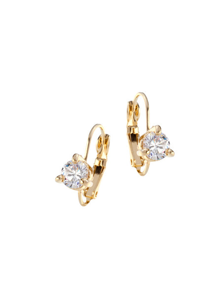 Beijos 6mm Prong Set Earrings - Gold