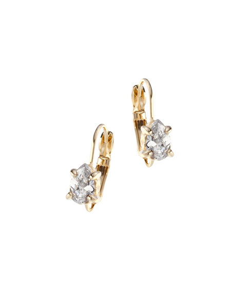 Beijos 8x5mm CZ Pear Gold Prong Set Earrings