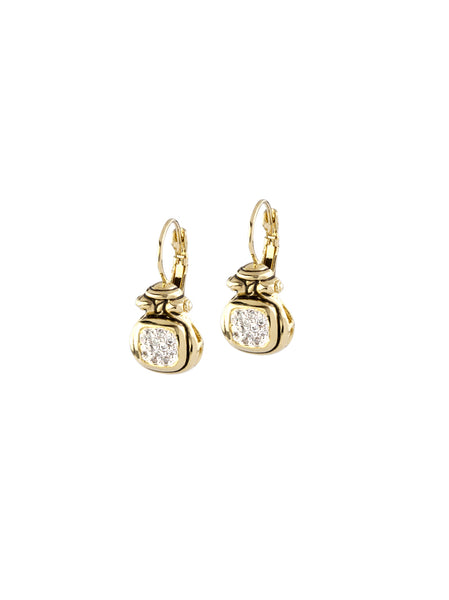 Anvil Gold & Pavé French Wire Earrings