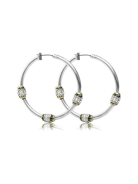 Pavé Triple Beaded Hoop Earrings by John Medeiros Jewelry Collections.
