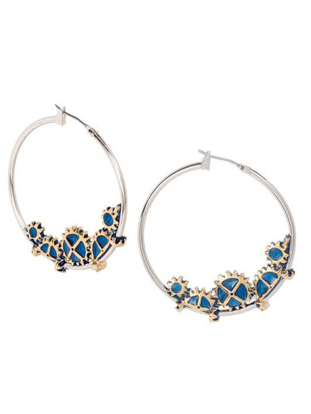 John Medeiros Two Tone Anvil Collection - Gears of Time Edition - Large Hoop Earrings