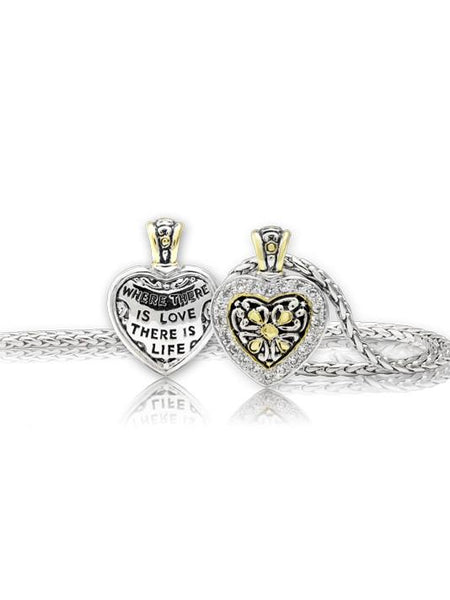 Heart Collection Reversible Pavé CZ Filligree Necklace