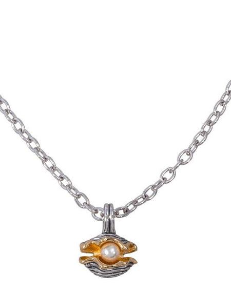 "Ocean Images Collection ""Pearl in Shell"" Slider Pendant with Chain"