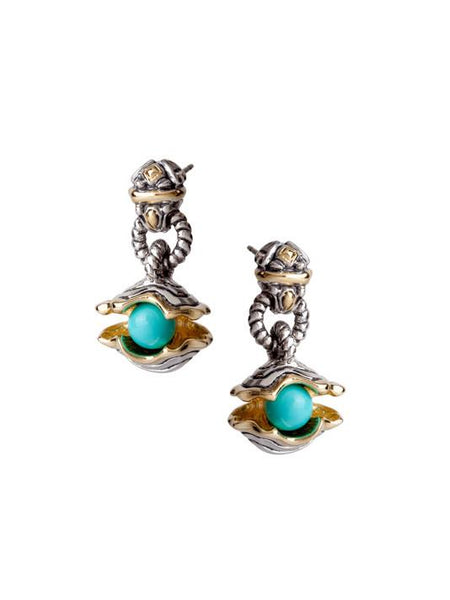 "Ocean Images Collection ""Pearl in Shell"" Drop Post Earrings"