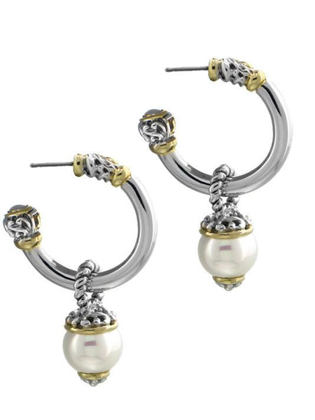 Ocean Images Collection Seashell Pearl Large Open Hoop Earrings