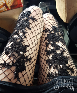 Black fishnet tights with couture lace applique beading embellishment and stud detail -Twilight Siren