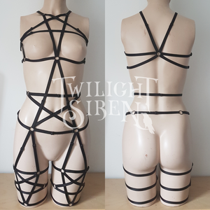 PENTAGRAM full body playsuit harness ouvert suspender brief lingerie black - TWILIGHT SIREN