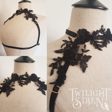 Ziva - black embellished lace harness black lingerie -Twilight Siren