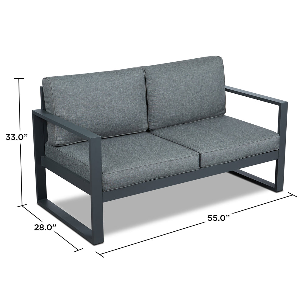 Baltic Outdoor Love Seat - Gray Aluminum Frame with Gray Cushions - Soothing Company