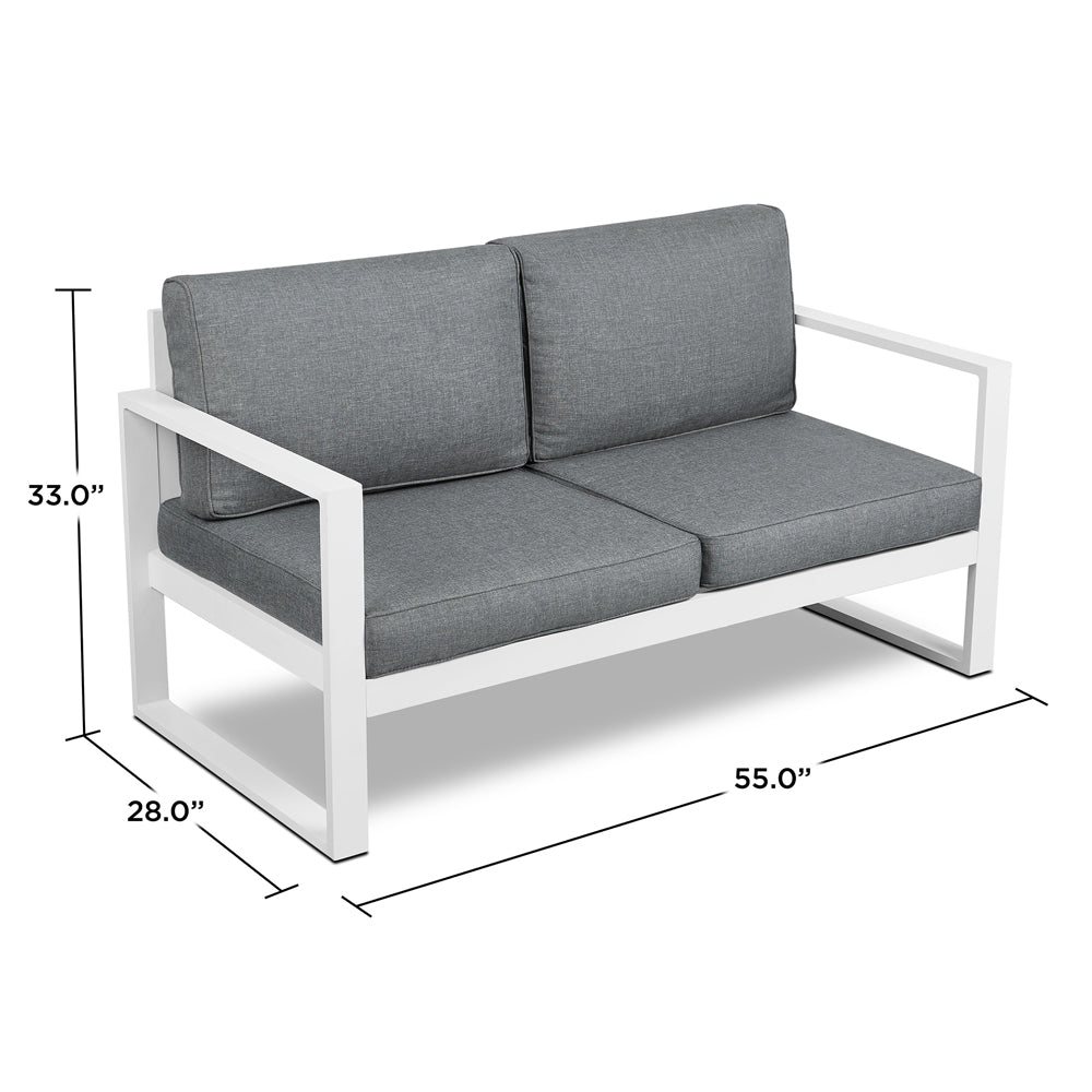 Baltic Outdoor Love Seat - White Aluminum Frame with Gray Cushions - Soothing Company