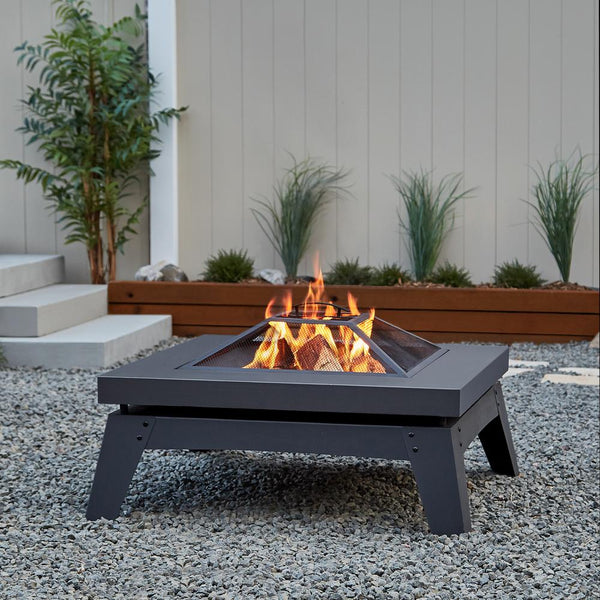 Breton Wood-Burning Fire Pit in Gray - Soothing Company