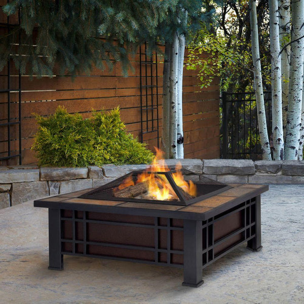 Morrison Fire Pit with Natural Slate Top - Soothing Company