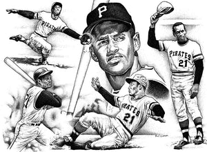 "Roberto Clemente Stainless Steel Wrap (8""x10"")"