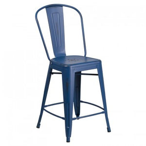 24'' HIGH DISTRESSED ANTIQUE BLUE METAL INDOOR-OUTDOOR BARSTOOL