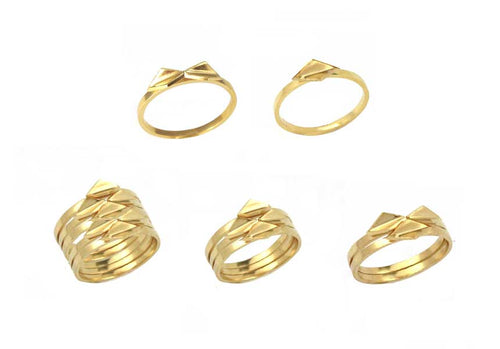 Oblique Stacker Rings gold plated silver or solid silver
