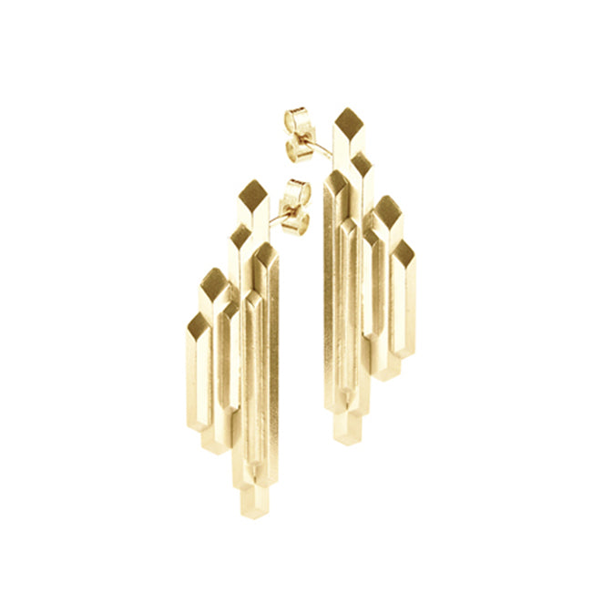 Element stalactite, large earrings gold plate