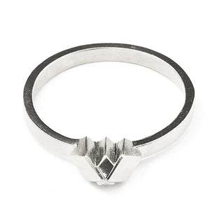 Element, tiny snowcapped ring solid silver
