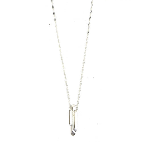 Element, short hanging stalactite necklace silver