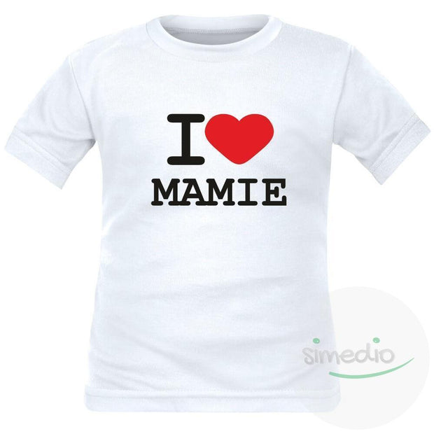 T-shirt enfant avec inscription : I love MAMIE, , , - SiMEDIO