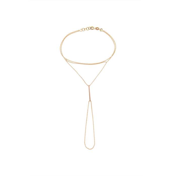 Kismet Bar Hand Chain 14k Rose Gold