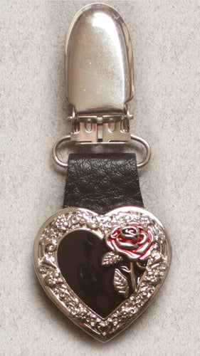 Boot Clips Black Heart w/ Rose