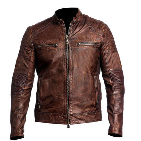 [ 50% OFF ] MEN'S VINTAGE CAFE RACER GENUINE LEATHER JACKET - 100% GENUINE LEATHER - AXEOP