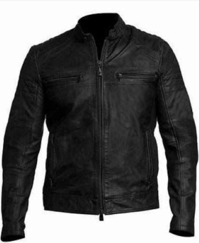 [ 50% OFF ] MEN'S BLACK LEATHER JACKET - 100% GENUINE LEATHER- FREE SHIPPING - AXEOP