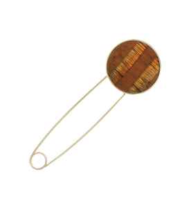 ROUND SAFETY PIN BROOCH (TIGERS EYE)