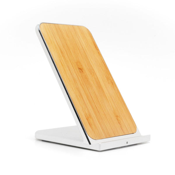 Wireless Charging Stand Wood & Metal Trim with Fast Charge Qi Technology