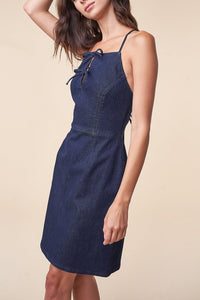 Dance With Me Denim Cross Back Dress