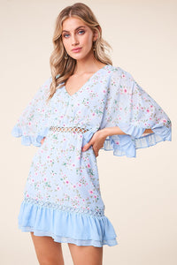 Love Story Floral Cape Sleeve Dress