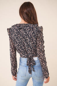 Sweet Symphony Floral Ruffle Crop Top