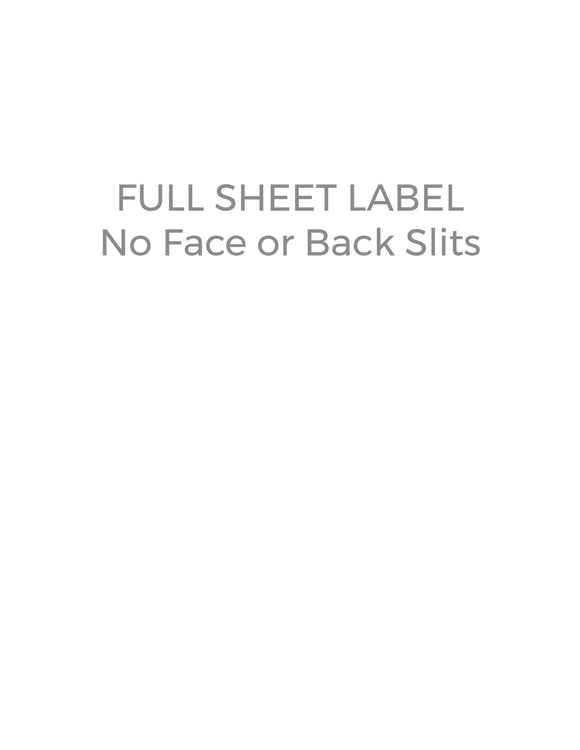8 1/2 x 11 Rectangle White High Gloss Laser Label Sheet (no slit face or back)