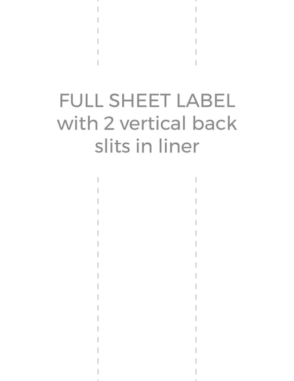 8 1/2 x 11 Rectangle White High Gloss Laser Label Sheet (w/ 2 vert back slits)