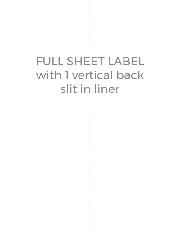 8 1/2 x 11 Rectangle Recycled White Label Sheet (w/ 1 vert back slit)