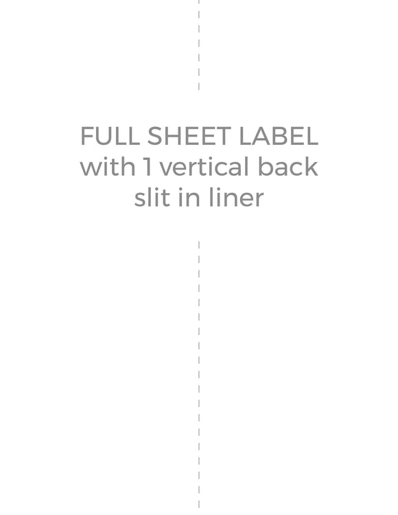8 1/2 x 11 Rectangle White Water-resistant Polyester Printed Label Sheet (w/ 1 vert back slit)