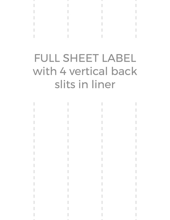 8 1/2 x 11 Rectangle Removable White Printed Label Sheet (w/ 4 vert back slits)