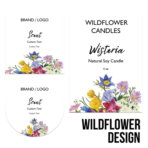 Quick Candle Label - Wildflower Design