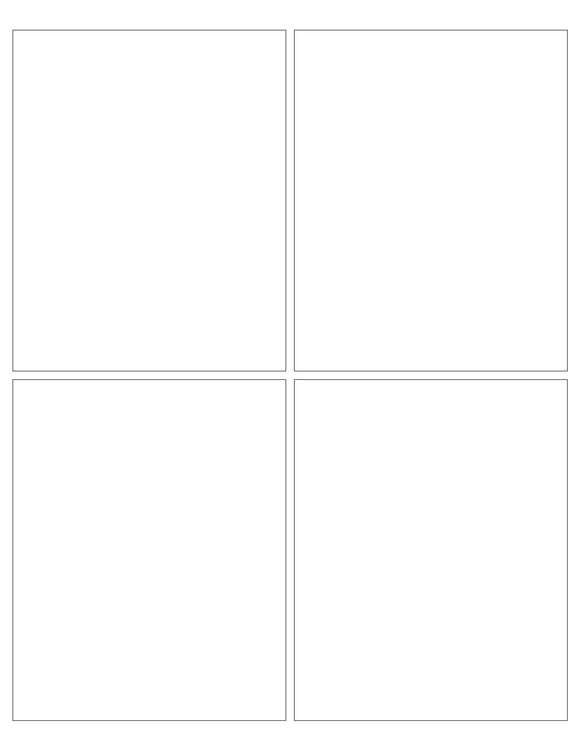 4 x 5 Rectangle Removable White Printed Label Sheet (Square Corners)